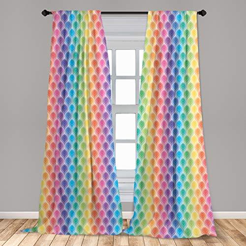 "Ambesonne Geometric Curtains, Rainbow Colored Ornamental Vintage Floral Arrangement Leaf Pattern Retro Design, Window Treatments 2 Panel Set for Living Room Bedroom Decor, 56"" x 63"", Pink Yellow"