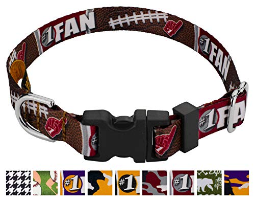 Country Brook Petz - Deluxe Crimson and White Football Fan Dog Collar - Sports and Athletics Collection with 10 Spirited Designs (1/2 Inch, Extra Small) - Made in The U.S.A.