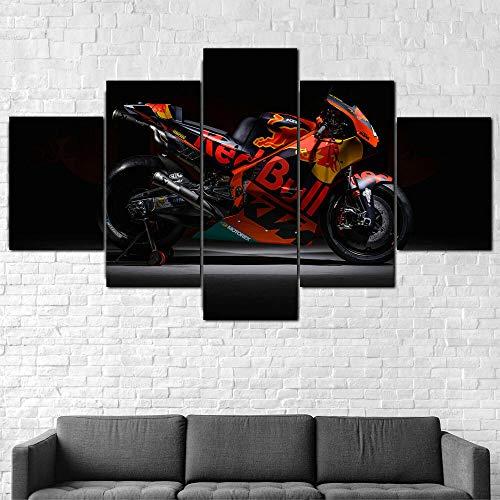 ZHRMGHG Impresiones sobre Lienzo Moderno HD Impreso Pintura Lienzo Decoración para El Hogar 5 Piezas Bicicleta De Carreras De Motogp Red Bull Poster Wall Art Picture