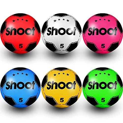 Balón inflable de fútbol de PVC para niños y niñas, fiesta de cumpleaños para interiores y exteriores, playa, parque, hogar, patio, fiestas escolares (color al azar)
