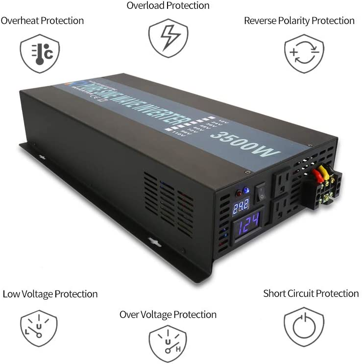 RBP350012B1 WZRELB Full Power Endurable 3500W 12VDC to 120VAC 60HZ US DUAL OUTLETS LED DISPLAY PURE SINE WAVE INVERTER Power Converter,