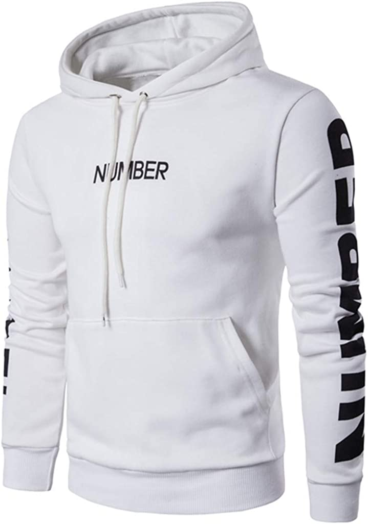Hoodies for Men Pullover Lightweight, Letter Printed Long Sleeve Active Fitness Hoodies Casual Hooded Pullover Outwear