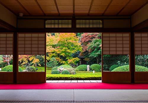 wandmotiv24 Fototapete Japanische Architektur Garten XS 150 x 105cm - 3 Teile Fototapeten, Wandbild, Motivtapeten, Vlies-Tapeten Japanischer Stil Japan M5924