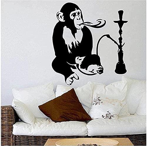 Art Deco autoadhesivo vinilo pared pegatina Animal mono cachimba ocio arte árabe cartel decoración 82X71Cm