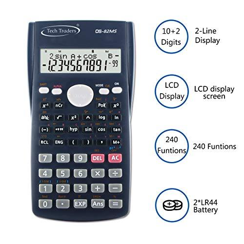 Calcolatrice scientifica avanzata, 240 funzioni, calcolatrice scientifica a 2 linee, display LCD, calcolatrice scientifica per lavoro, ufficio, scuola, studenti, test SAT/AP