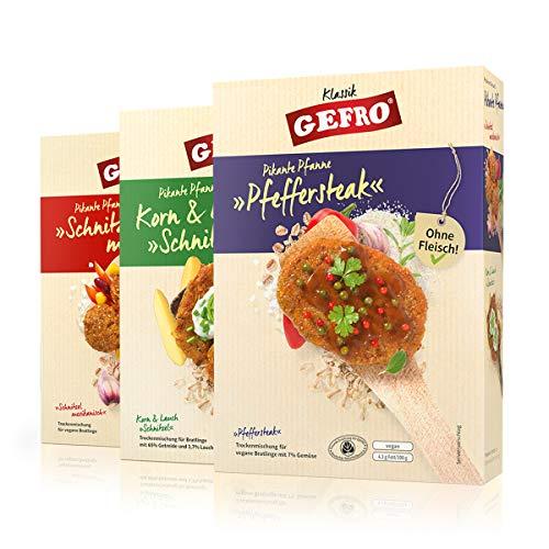 GEFRO Pikante Pfanne vegetarische Bratlinge, pikante, fleischfreie Schnitzel (Alle Drei)
