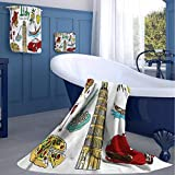 jecycleus Italy Hotel Selection of Luxury Three-Piece Towels Fun Colorful Sketch Style Soft, Durable, Plush and Absorbent Medium Three-Piece Towel