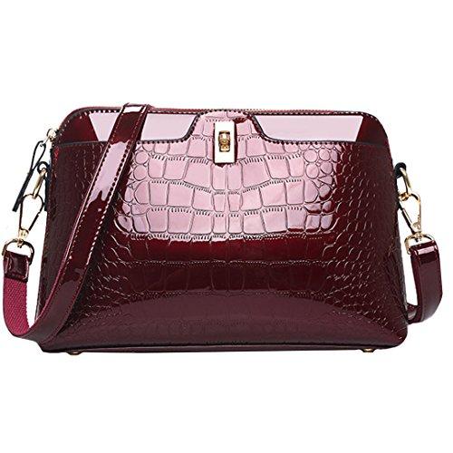 AiSi Damen mini Lack Leder Handtasche/Damenhandtasche/Schultertasche/Crossbody Bag/Umhängetaschen/Henkeltasche mit Reißverschluss Umhängekette Weinrot