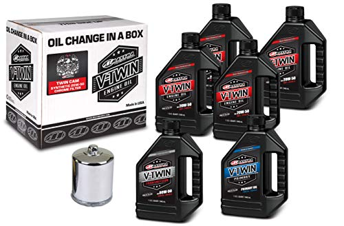 Maxima Racing Oils 90-119016C Chrome 90-119016C Twin Cam Synthetic 20W-50 Chrome Filter Complete Oil Change Kit, 6 Quart, 1 Pack