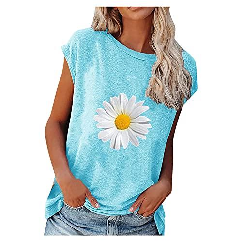Camiseta de manga corta y cuello redondo para mujer, diseño de margaritas, para verano, informal, para el sol azul XXL