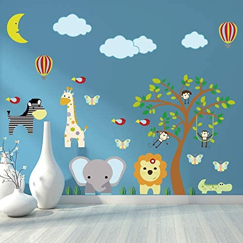 Supzone Jungle Animal Wall Stickers Monkey Tree Wall Decals Elephant Giraffe Zebra Vinyl Forest product image
