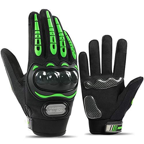 Guantes de Moto,Pantalla-Táctil Ciclismo-Guantes-Hombre - para Carreras de Moto,Motocross,Bicicleta de Montaña,Actividades al Aire Libre (Verde, L)