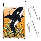 Cesta colgante para la colada de 50 x 76 cm, bonita orca naranja garabateo, bolsa de almacenamiento para ropa sucia, bolsa de almacenamiento con ganchos de pared para puerta