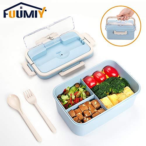 Funmiy Bento Box, Lunchbox groß 1500ML Brotdose mit 3 Fächern für Kinder und Erwachsene, BPA-frei, Übergroße Kapazitäten Bento Lunch Boxen mit Besteck/mit fächern(XL)