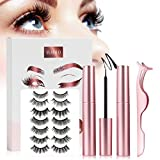 Magnetic Eyelashes with Magnetic Eyeliner Kit, 7 Pairs Reusable 3D False Lashes with 2 Tubes Magnetic Liquid Eyeliners and Tweezers, Magnetic Eyelashes Natural Look, No Glue Needed
