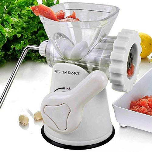 Kitchen Basics 3 N 1 Manual Meat and Vegetable Grinder Mincer, 3 Size Sausage Stuffer, Pasta Maker Bowl Inluded