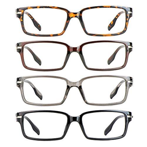 4 Paar Lesebrillen, Blaulicht-Blockierbrille, Computer-Lesebrille für Damen und Herren, Brillengestell mit rechteckigem Mode-Design (4 Mehrfarbig, 1.25)