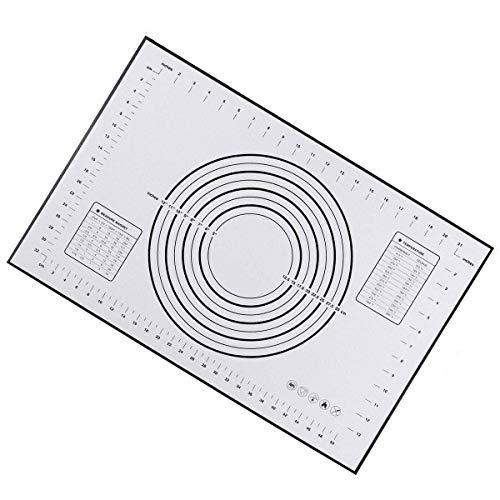 Tischset Silikon-Backmatte, FDA-zugelassen und BPA-frei, rutschfeste Klebefolie auf der Arbeitsplatte zum Aufrollen des Teigs, inklusive Umrechnungsinformationen (Schwarz-Groß (23,6 '' X 15,7 '')