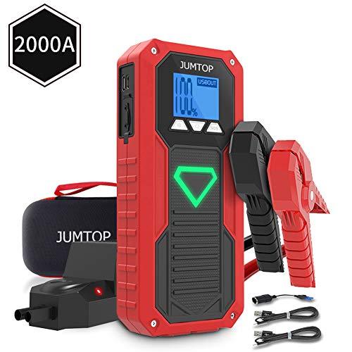 Arrancador Bateria Coche, JUMTOP 14400mAh 2000A Pico Arrancador Coche, Arranque Bateria Coche (Motor 8,0L Gas / 6,0L DiéSel), Jump Starter-BateríA AutomáTica Cargador TeléFono Bancario USB LED