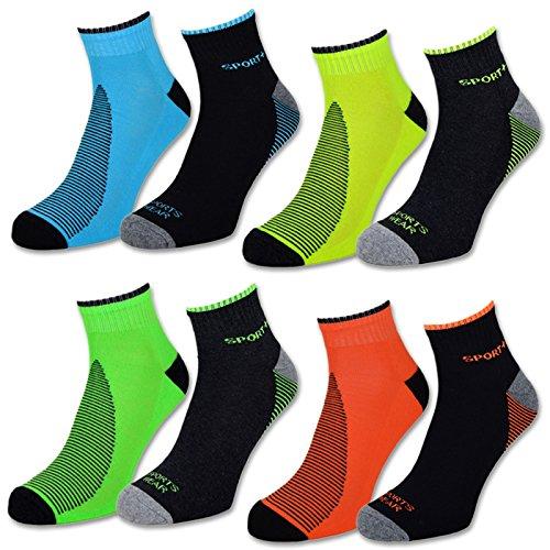 4 | 8 | 12 Paar NEON Sportsocken Sneaker Socken Herren mit verstärkter Frotteesohle - 16209 (43-46, 8 Paar | Farbmix)