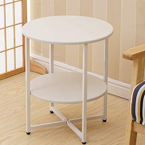 Articles for daily use Two-Tier Round end Table Coffee Table Bedside Table, Metal Frame Shelf with MDF Table top, Sofa in Living Room or Small Round Table in Bedroom