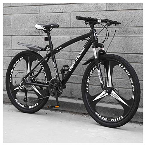 COSCANA 26 Inch Mountain Bike, Front Suspension 21-27 Speed High-Tensile Carbon Steel Frame MTB With Dual Disc Brake For Adult And TeensBlack-21 Speed