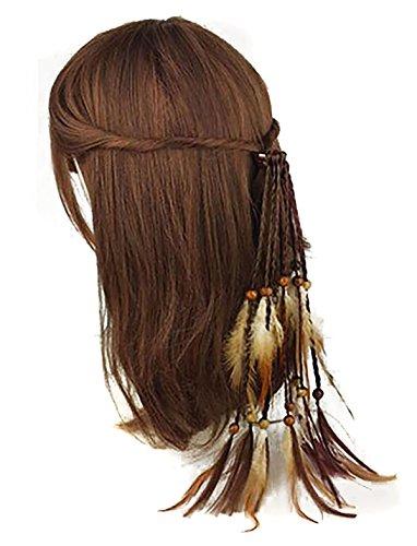 Lot de 3 faite à la main Boho hippie Cheveux Corde Cheveux Band Bandeaux Head Wrap élastiques plumes Cheveux Cravate Queue de cheval Supports Coiffe Accessoires Cheveux pour femme/fille