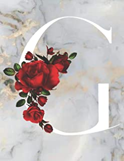 G: Monogram Initial G: Notebook for Women, Girls and School, Marble Floral 8.5 x 11, 120 Pages (60 Sheets) Excellent Gift ...