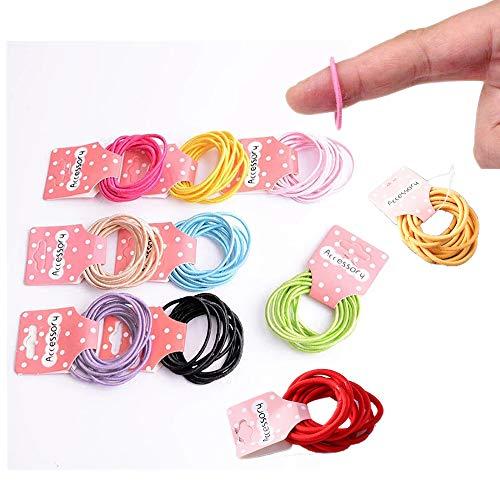 100 unidades de 10 colores,Lazos elásticos para el pelo, tamaño pequeño, banda de goma para coleta