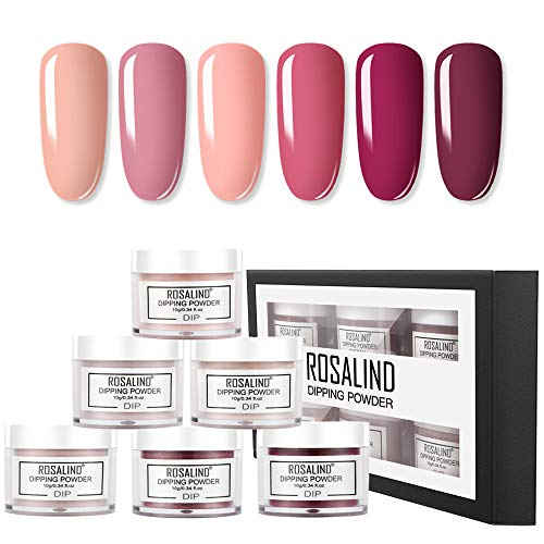 ROSALIND Dipping Powder Series Red 6 Colours Set,Nails Dip Powder Collection, Nail Art Acrylic Powder Set, Manicure Nail Dip Salon Kit 10g