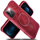 Migeec PU Leather Cases Compatible with iPhone 12 Pro Max (2020) 6.7' Mag-Safe Charging Reinforced Shockproof Slim Hybrid Case for iPhone 12 Pro Max-Red