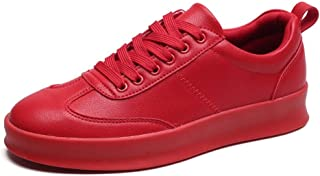 Fashion Shoes, Fashion Shoes Fashion Men Sneaker for Sports Shoes Lace Up Style PU Leather Soft Round Toe Solid Colors Thick Heel Comfortable Shoes, Breathable Shoes (Color : Red, Size : 6.5 UK)