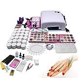 Futchoy Juego profesional de manicura de gel UV con lámpara, juego de iniciación, fresa de uñas con fresa de uñas UV