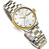 Day Date Watch Women,Ladies Dress Watches with Stainless Steel,Watch Fashion Women with Date, Ladies Business Wristwatch,Luminous Women Watches,Luxury Ladies Watch on Sale,Roman Numerals Female Watch