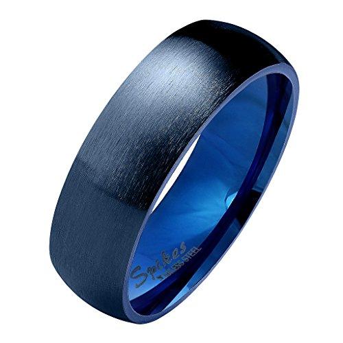 Mianova Herren Damen Band Ring Partnerring Edelstahl Verlobungsring Damenring Herrenring Matt Blau Größe 61 (19.4) Breit 6mm