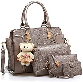Women Hand Bag Set 4Pcs With Teddy Bear One Shoulder Bag One Hand Bag And Two Purses