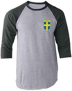 Sweden Soccer Retro National Team Raglan Baseball Tee Shirt