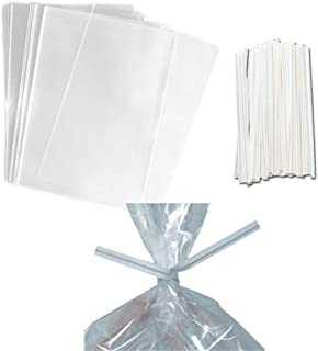 100 Clear Treat & Favor Bags | Twist Ties Included | Great For Cake Pops, Candy, Gifts, Wedding or Party Favors | Food Safe Plastic | Stronger Than Cellophane | 1.5 Mils Thickness | 3