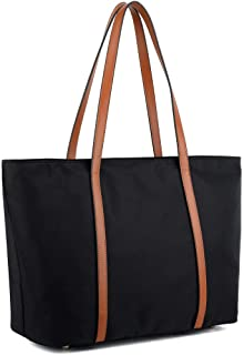 YALUXE Tote for Women Leather Nylon Shoulder Bag Women's Oxford Large Capacity Work fit 15.6 inch