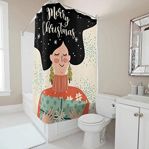 Charzee Douchegordijn Kerstmis Happy patroon antibacterieel waterdicht gordijn badkuip gordijn voor badkamer badkuip
