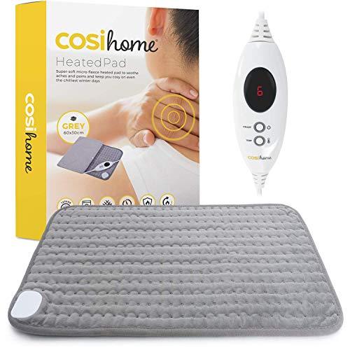 Heizkissen 60 x 30 cm mit Mikrofleece Bezug von Cosi Home - Maschinenwaschbares elektrisches Wärmekissen mit Abschaltautomatik und schneller Heiztechnologie - für Muskel und Rückenschmerzen - Grau