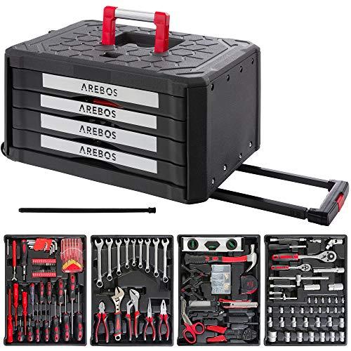 Arebos Werkzeugkoffer inkl. Werkzeug | 300-teilig | Chrom-Vanadium Stahl | 4 Schubladen | Teleskopgriff & 2 Rollen
