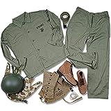 JXS Segunda Guerra Mundial EE.UU. Cuerpo de Marines Equipo de la Ropa del Retro-Militares Uniformes de Camisa/Pantalones/Casco/Cinturón/Botas/Polainas/Cubierta del Casco