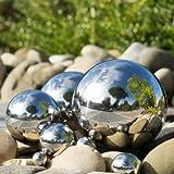 CIM Dekokugel aus Edelstahl - Dekokugel Silber Ø 10 cm - Leichte Hohlkugel, Gartenkugel, Schwimmkugel - polierte Oberfläche mit dauerhaft spiegelndem Glanz