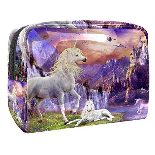 Bolsa de maquillaje portátil con cremallera bolsa de aseo de viaje para mujer, práctico almacenamiento cosmético bolsa de unicornio