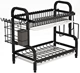 Dish Drying Rack, 1Easylife 2-Tier Compact Kitchen Dish Rack Drainboard Set, Large Rust-Proof Dish Drainer with Utensil Holder, Cutting Board Holder for Kitchen Counter Tableware Organizer (Black)