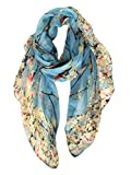 GERINLY Spring Scarfs for Women Lightweight Floral Birds Print Dress Shawl Scarf Gift (Light Blue)