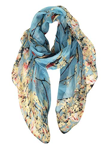 GERINLY Spring Scarfs for Women Lightweight Floral Birds Print Dress Shawl Scarf Gift (Light Blue)