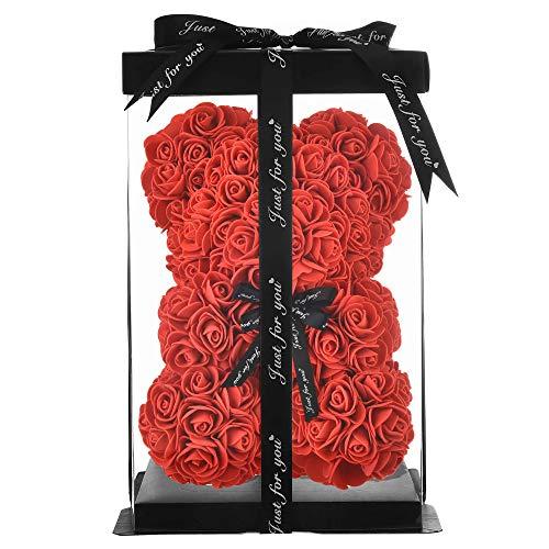 NWSX Rosenbär - Rose Teddybär auf jedem Rosenbären - Blumenbär Perfekt für Jubiläen, Mütter - Klare Geschenkbox inklusive! 10 Zoll groß (10in, red)