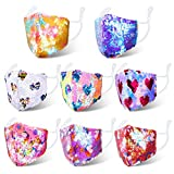 8 Pieces Glitter Kids Mask Sequin Cloth Masks Bling Hearts Unicorn Star Face Covering for Boys Girls Children Reusable Protection for Every Day use